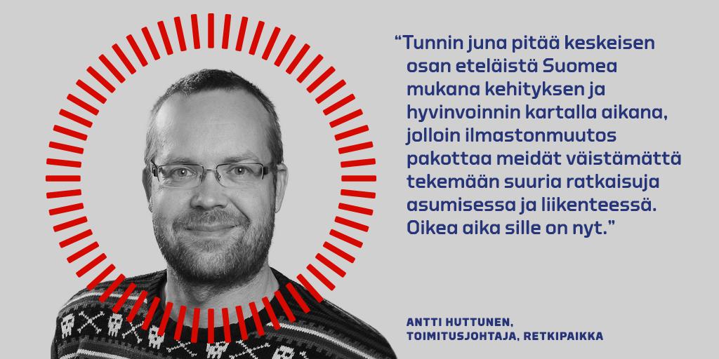 Antti Huttusen kommentti Tunnin junan puolesta.