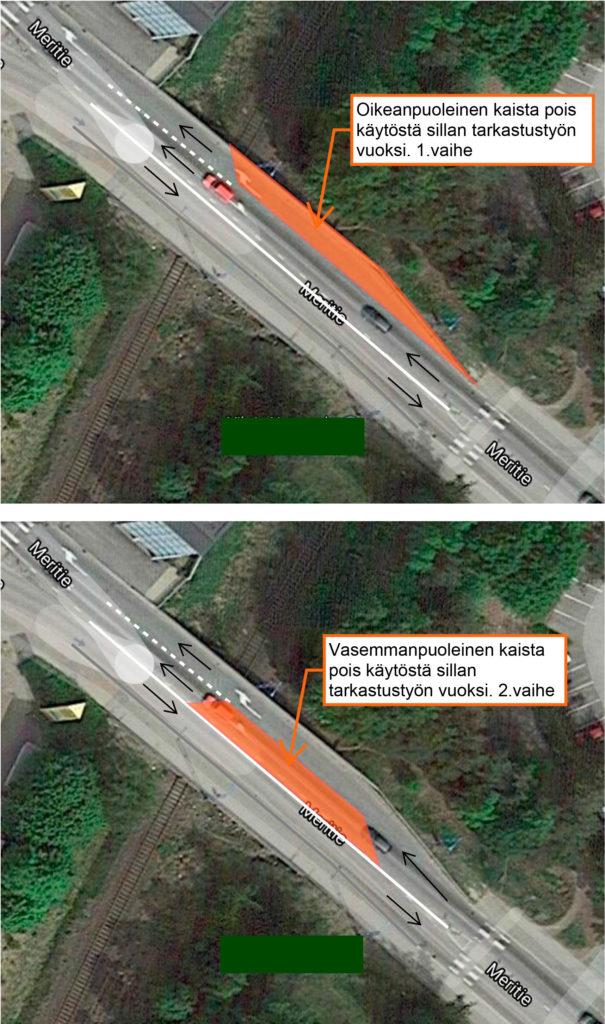 Karttakuva Meritien sillan kaistojen sulkemisesta