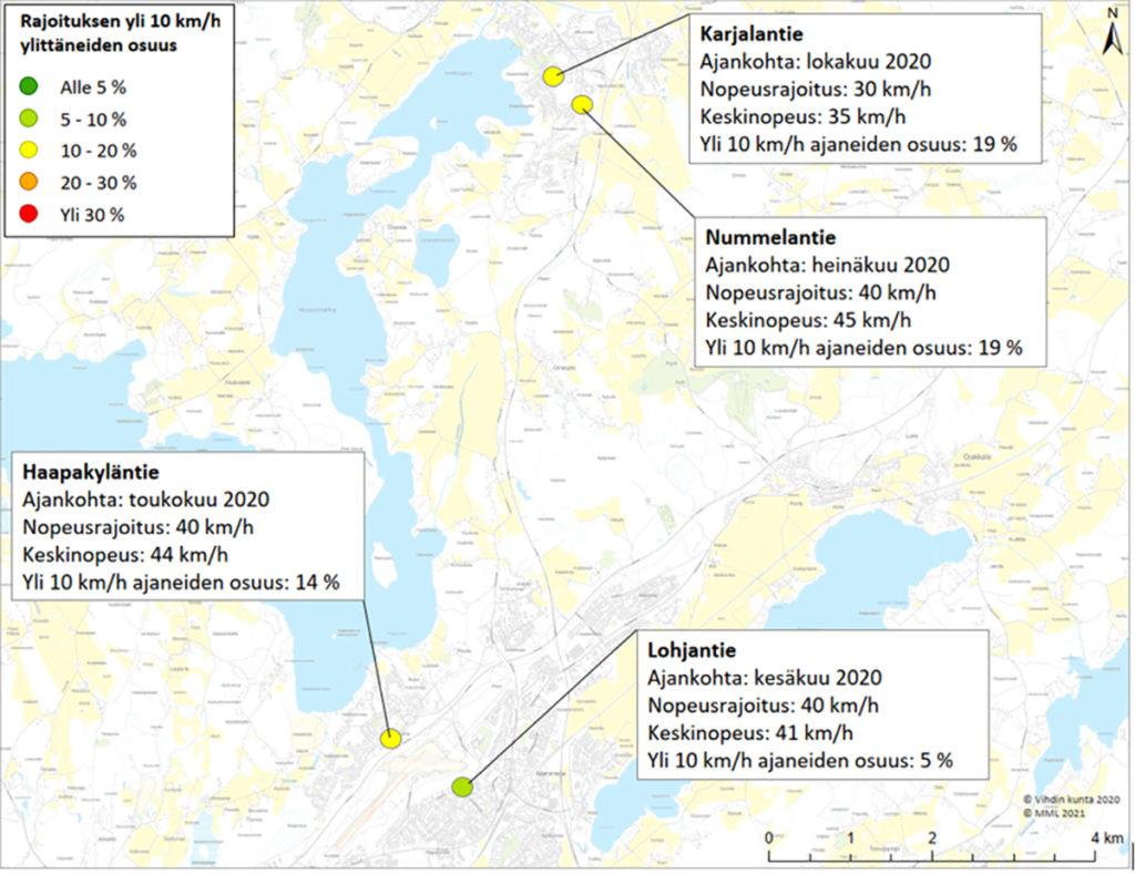 Nopeusnäyttötaulujen tuloksia Lohjantiellä, Nummelantiellä, Karjalantiellä ja Haapakyläntiellä
